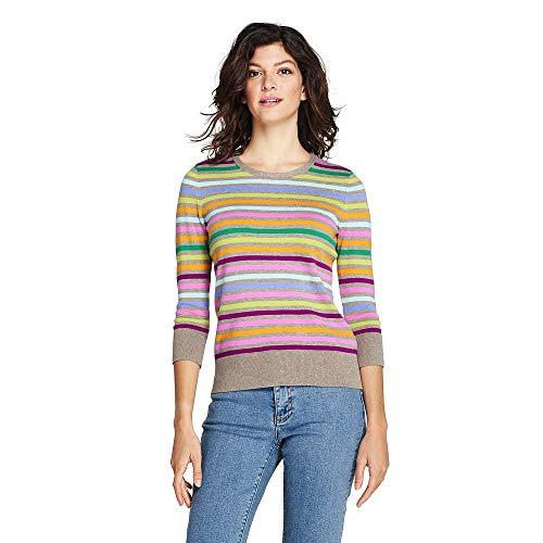 Lands' End Women's Petite Supima Cotton 3/4 Sleeve Sweater, S, Alpaca Heather Multi Stripe