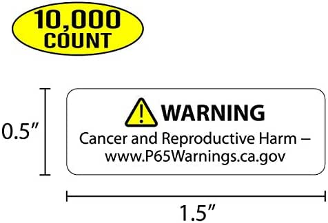 Proposition 65 Truncated Warning Labels, 0.5 Inch by 1.5 Inch | 10,000 Count
