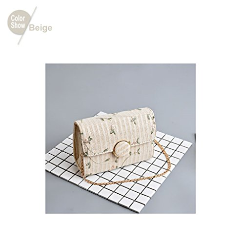 Fashionable Women Embroidery Beige Amuele Girls For Crossbody Straw Package Lady's Weaving Xq66wSOB