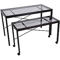 """HomCom 47"""" Contemporary Style Glass 2 Piece Nesting Table Set - Transparent/Black"""