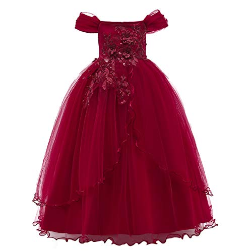 Kids Girl Off Shoulder Embroidery Flower Tulle Lace Long A Line Pageant Dress Wedding Birthday Party Floor Length First Communion Formal Princess Prom Holiday Dance Maxi Ball Gown Red 13-14