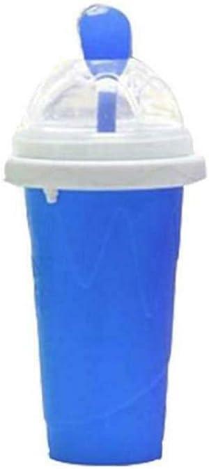 Tulas Slushy Ice Cream Maker Squeeze Peasy Slush Quick Cooling Cup Milkshake Bottles (Blue)
