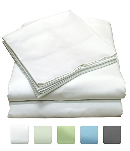 600 Thread Count 100% Long Staple Cotton Sheet Set, Soft & Silky Sateen Weave, Twin Bed Sheets, Elastic Deep Pocket, Hotel Collection, Wrinkle Free, Luxury Bedding, 3 Piece Set, Twin - White