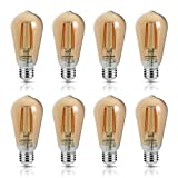 LED Edison Bulb 6W Vintage Light Bulb, 60W Equivalent 700 Lumen 2200k Amber Warm Glow, Non-Dimmable Filament Bulbs E26 Medium Base, Decorative Clear Glass for Bathroom Kitchen Dining Room, Pack of 8