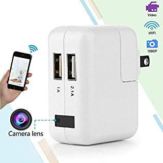 Wireless Hidden, 2020 Upgraded Version WiFi Camera 1080P HD Hidden Camera Wall Charger Nanny Cam with Remote Viewing & Motion Detection for Home, Office, Store
