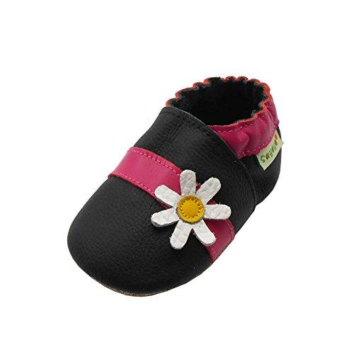 Sayoyo Baby Cute Flower Soft Sole Leather Infant Toddler Prewalker Shoes (Black,0-6 Months) (Black Toddler Leather)