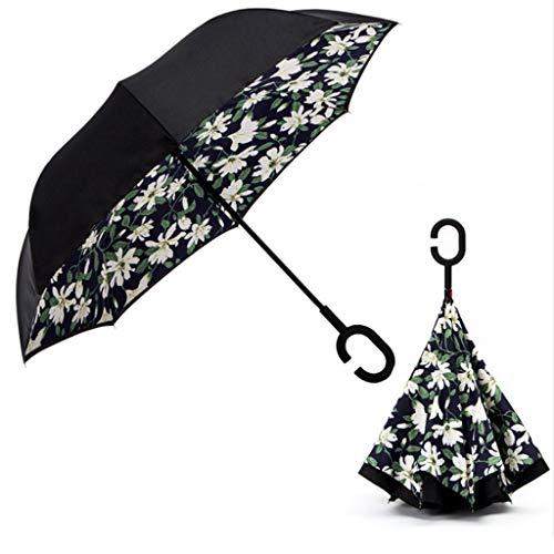 C Shape Handle Double Layer Umbrella Anti-UV Folding Inverted Upside Down Reverse Windproof Lily Flower Car Travel ()