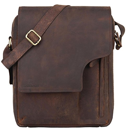 - Leaderachi - 100% Pure Genuine Real Vintage Hunter Buffalo Leather Handmade Men Crossover Shoulder Messenger Bag [