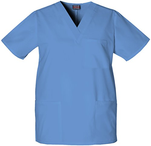 Scrub Cherokee Pocket 2 V-neck (Cherokee Originals Unisex V-Neck Scrubs Shirt, Ceil, Medium)
