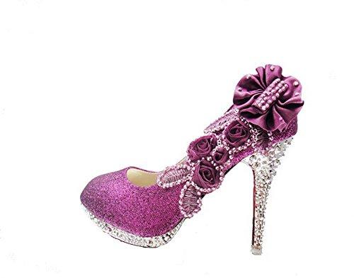 Amoonyfashion Mujeres Lentejuelas Stiletto Pull On Bombas Zapatos Con Diamantes De Imitación Púrpura-bhx