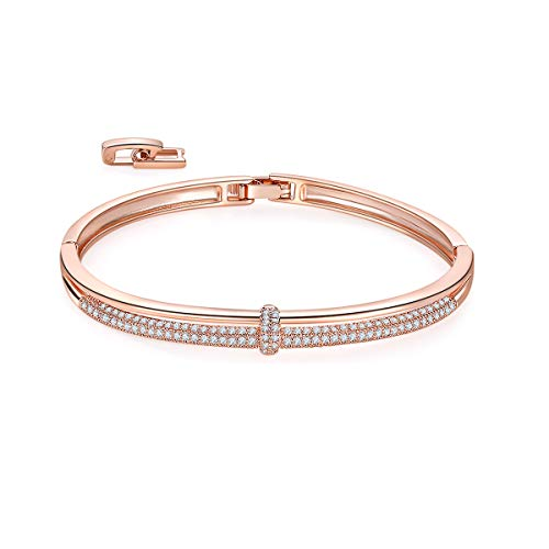 MILATU Bangle Bracelet 2 Row 3A Cubic Zirconia Paved,Rose Gold-Plated Bracelet,2 Buckle Adjustable Bracelet Jewelry Gifts for Women Girls