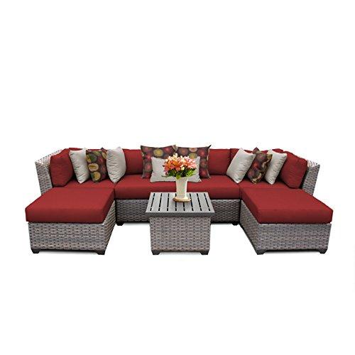 -07a-TERRACOTTA 7 Piece Outdoor Wicker Patio Furniture Set, Terracotta ()