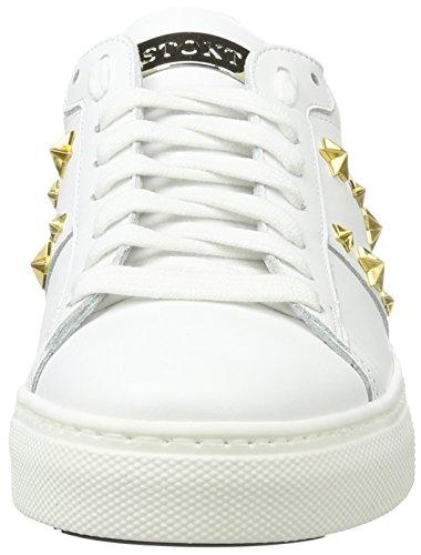 Stokton Sneaker, Scarpe da Ginnastica Basse Donna Bianco (Bianco/Oro)