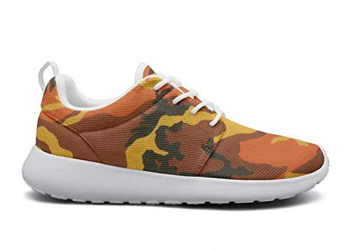 for Women Ultra Lightweight Breathable Mesh Athleisure Sneakers Orange camo Camouflage Background Fashion Walking Shoes