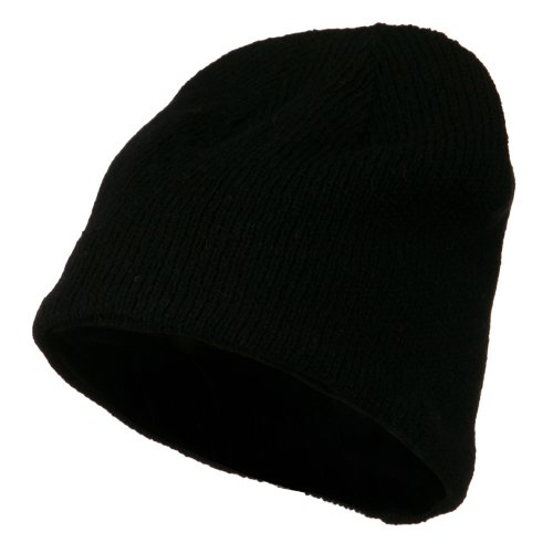 Ragg Wool Beanie - Black (E4hats Fully Lined Beanie)