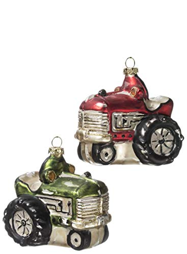 Sullivans Painted Glass Antique Tractor Christmas Ornaments, Set of 6 in 2 Styles, 3