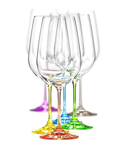 Bohemia Crystal Wine Glasses Multi Colored Rainbow Goblets Set of 6, Each Stem Different Color, Lead Free - Multi Colored Crystal