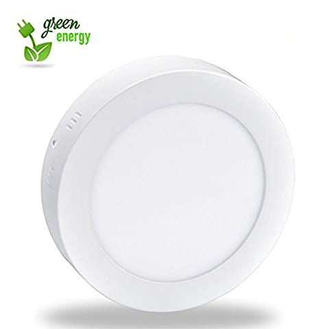 18W LED Super Bright Panel Wall Ceiling Down Lights, Panel Lamp Mount Surface, Round, White/6000K, Input 86-265V, Lighting for Office/Hotel/Kitchen/Bed room/Bathroom, Aluminum [Energy Class A+]