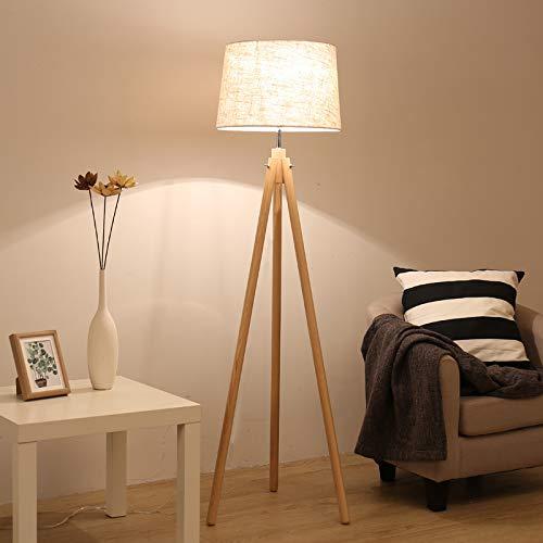 Lámpara de pie DLLT E27 retro, lámpara de pie de madera con ...
