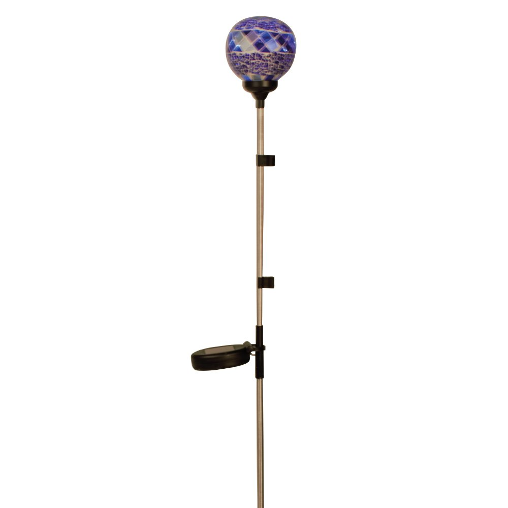 Cole & Bright 6761 Stainless Steel Colored Glass Mosaic Solar Border Ball LED Light