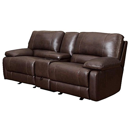 Body Balance System Leather Reclining Loveseat with Frequency Massage, Brown