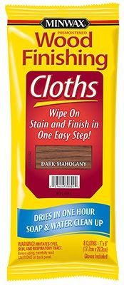 Minwax® 308240000 Wood Finishing Cloths with Gloves Dark Mahogany 7x8 8-Count Pack of 6