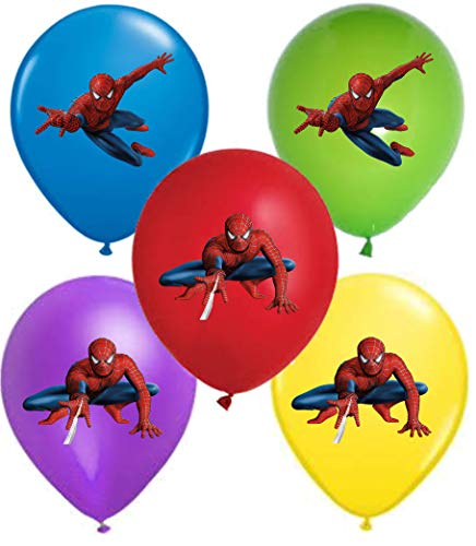 Vision Spiderman 12 Party Balloons 25 Pcs, Assorted Colors Premium Latex