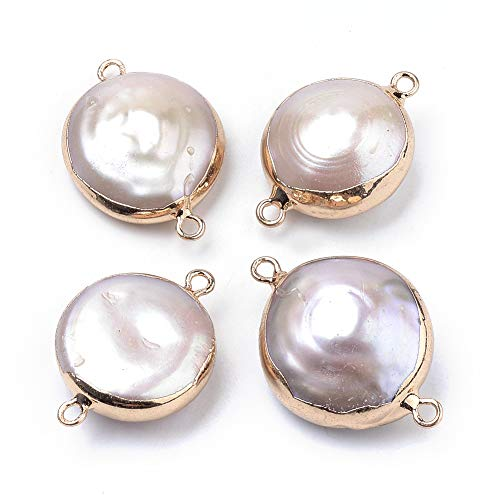 Fashewelry 10Pcs Natural Pearl Links 22~26x15~18mm Golden Edge Round Pearl Connectors with Double Loops