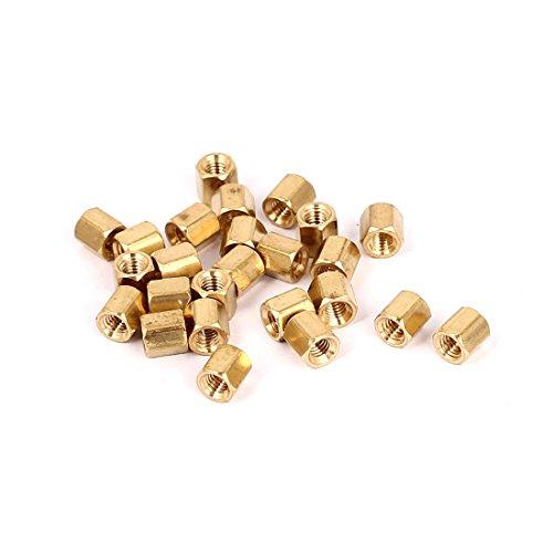 uxcell M3 x 5mm Female Threaded Brass Hex Standoff Pillar Spacer Nuts 25pcs