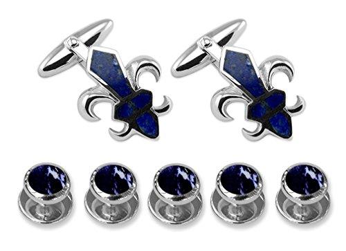 - Sterling Silver Fleur De Lys Lapis Cufflinks Shirt Dress Studs Gift Set