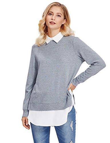 ROMWE Women's Classic Collar Long Sleeve Curved Hem Pullover Sweatshirt Light Gray XL (Long Length Sweaters To Wear With Leggings)