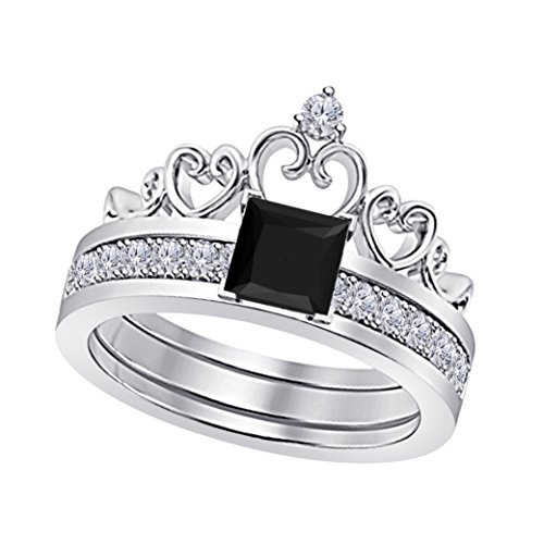 (14k White Gold Plated Alloy Princess Cut 6MM Created Black Sapphire & White Cubic Zirconia Round Interchangeable Crown Engagement & Wedding Ring Set Women's Jewelry Size 4.5-12)
