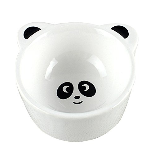 (Ozzptuu Ceramic Food Water Bowls with Cute Cartoon Design for Hamster Guinea Pig Chinchilla Rabbit or Other Small Anmials (Panda))