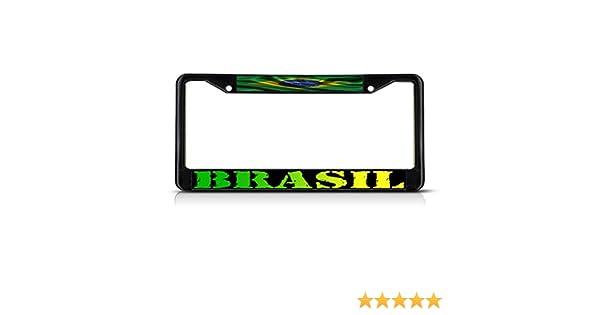 BRAZIL BRAZILIAN FLAG WHITE License Plate Frame Tag Holder