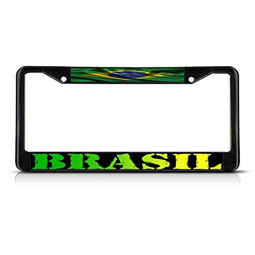 (Fastasticdeals Brasil, Brazilian Wavy Flag Brazil Metal License Plate Frame Tag Border Black)