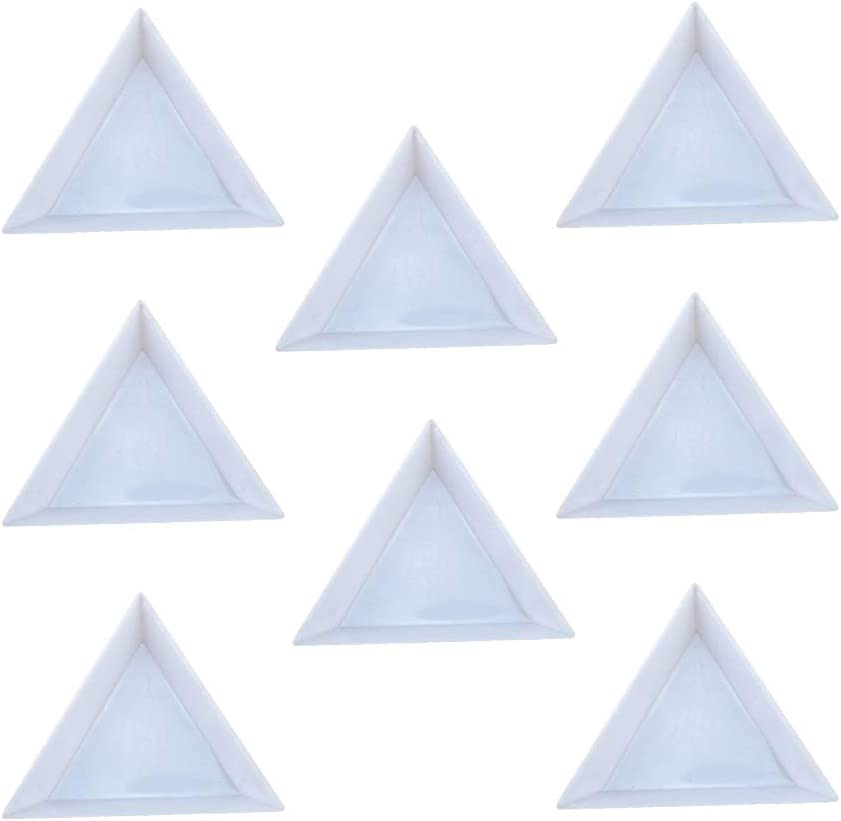 Triangle Sorting Trays,100 Pieces Plastic White Magical Sequin Rhinestones Tray Triangle Sorting Storage Plates Art Tray for Craft and DIY Needs