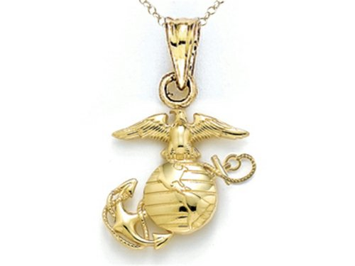 Finejewelers 14k Yellow Gold Extra Small Polished Marine Corps Emblem Pendant Necklace Chain Included