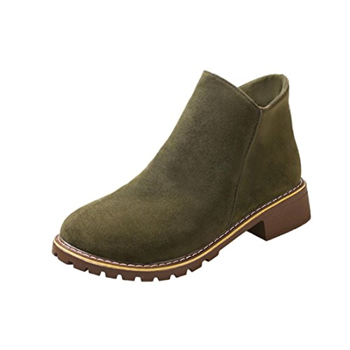 Elevin(TM)2017Women Winter Warm Flock Flat Thick Heel Nubuck Motorcycle Martin Boots Shoes (5US, Army Green)