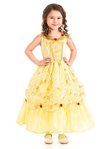 [Little Adventures Traditional Yellow Beauty Girls Princess Costume - Large (5-7 Yrs)] (Princess Tiana Disney Costume)