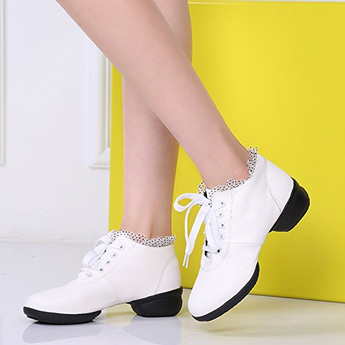 Abby 1805-1 Womens Jazz Hip Hop Closed Toe Low Heel Charming Lace-up Mid Top Dance Shoes White G3I10