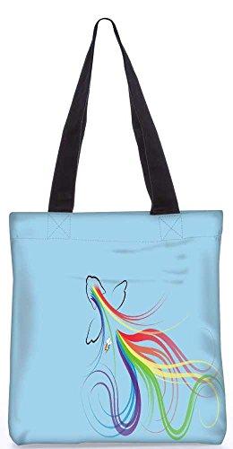 """Snoogg Rainbow Dash Einkaufstasche 13,5 X 15 In """"Shopping-Dienstprogramm Tragetasche Aus Polyester Canvas"""