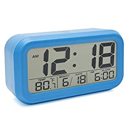 JCC Innovation Night Vision with Touch Button Easy Read Digital Desk Alarm Clock Bedside Wake Up Alarm with 2 Level Brightness, Snooze, Date and Temperature Display - Battery Operation (Blue)