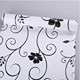 JINZAI Pvc waterproof wallpaper wall self-adhesive backed kitchen bathroom bedroom 0.45 * 10m,45 wide 10 m black on white flowers, extra larg
