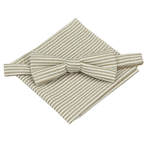 (100% Cotton Seersucker Mens Pretied Bowtie & Pocket Square Set (Brown))