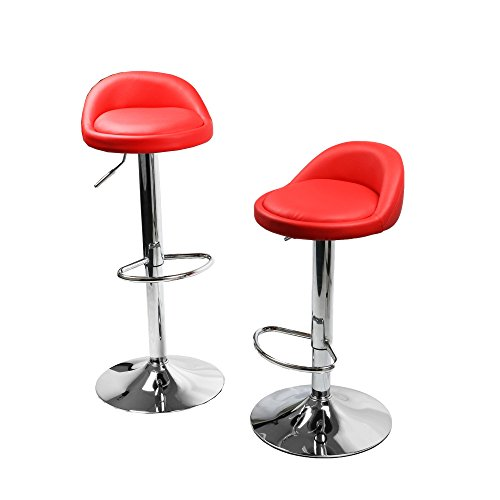 Weight Bar Round Style - MagshionSet Of 2 Red Leather Round Style Swivel Adjustable Height Barstool Chair