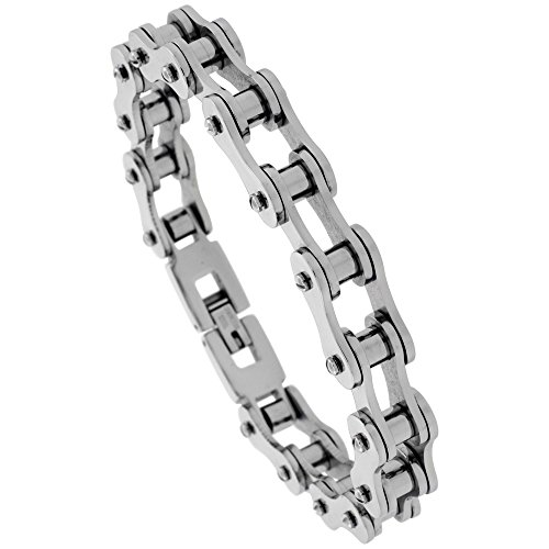 Stainless Steel Bicycle Chain Bracelet For Men 7/16 inch wide, 8.5 inch long