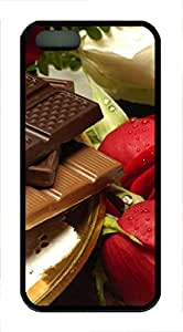 iPhone 5 5S Case Chocolate and roses TPU Custom iPhone 5 5S Case Cover Black