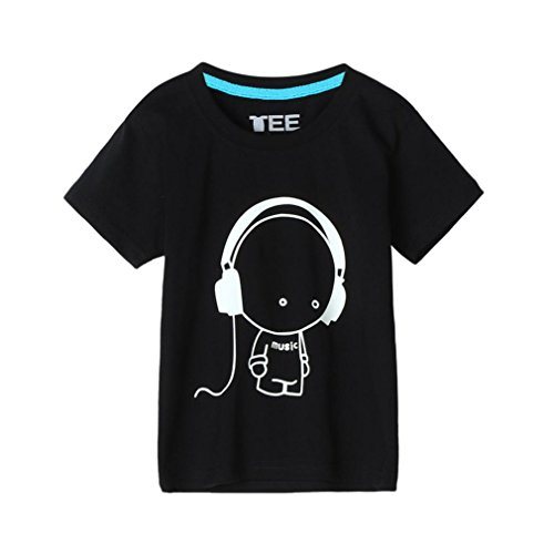 Moonker Fashion Summer Kids Boys Headset Skull Heads Short Sleeve Fluorescence T Shirt Top Clothes 2-10Y (Black -3, 5-6 Years Old) -