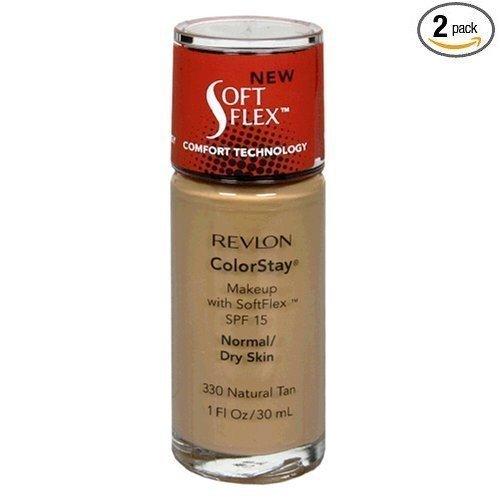 Revlon ColorStay Makeup, with SoftFlex, SPF 15, Normal/Dry Skin, 1 fl oz (30 ml) (Pack of 2)-variation, 330 Natural: $17.99