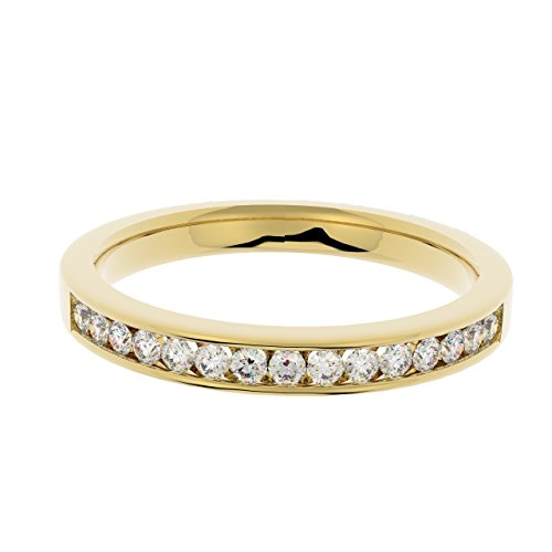 0.25 Carat Round Diamond Channel Set Half Eternity Ring in Yellow Gold Size...